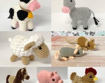 Crochet Mini Animals Pattern - Crochet Farm Animals, Crochet Pig Pattern, Crochet Sheep Pattern, Crochet Chicken Pattern, Crochet Horse