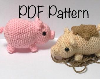 Crochet Mini Pig Pattern - Cute Mini Pig pattern - Crochet Farm Animal Pig Pattern