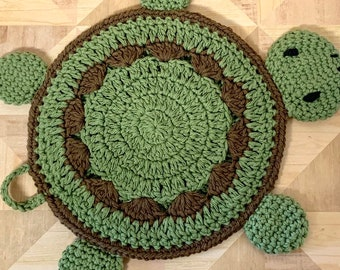 Crochet Turtle Potholder pattern - Crochet Potholder and Placemat Pattern - Turtle Wall hanging and decor