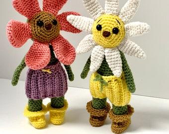 Crochet Flower Child Pattern - Crochet Flower Pattern - Crochet Flower Patch Kids Pattern - Crochet Spring Doll Pattern