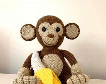 Crochet Cuddle Monkey Pattern - Crochet Monkey with Banana Pattern - Crochet Jungle Animal Pattern