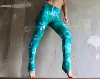Green * Jelly Fish * Leggings size s, tie dye leggings, trousers, Yogapants, yoga leggings, pilates, lace batik