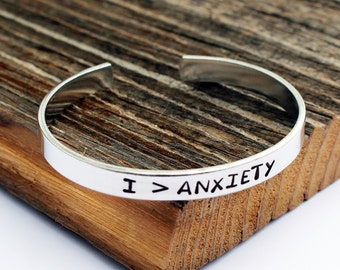 I > Anxiety bracelet  I am greater than anxiety Encouragement gift Mental Health Awareness Bracelet Anxiety relief  Anxiety self soother