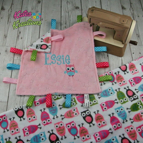Handmade baby sensory ribbon Taggie//blanket Shannon dimple fabric *Personalised*