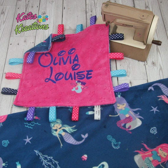 2 sizes Fuchsia Flamingo Taggy Blanket Personalisation available