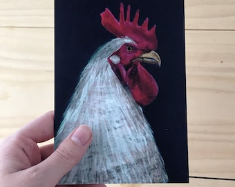 Purple Royal Rooster Greeting Card