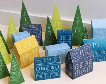Holiday Village DIY Advent Calendar (Printable)