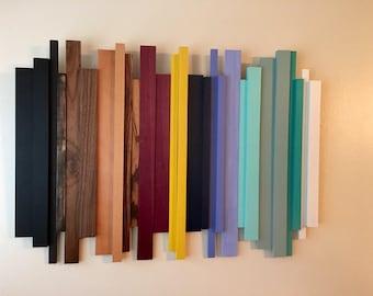 Wood wall art, wood sculpture, modern wood art, reclaimed wood wall art, home decor