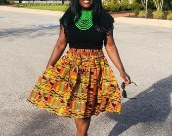 African Print Skirt Adult and Child Orange Red Skirt 0-9years Cotton Skirt Matching Wax Print Skirt