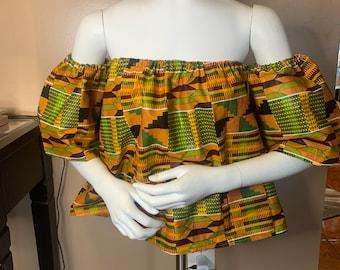 Kente off Shoulder top, Ankara off Shoulder Top, African print off Shoulder Top, Off shoulder blouse