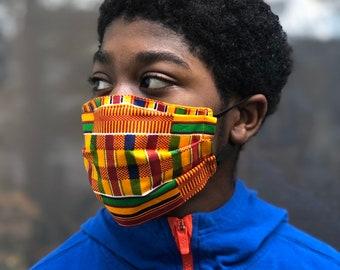 Kente face mask, Cotton face mask, Reversible face mask, Protective face mask, Washable face mask, Ankara face mask