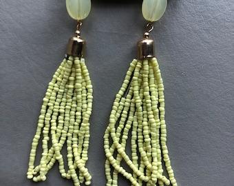 Yellow long beaded earrings, hoop earrings, dangling beaded earrings