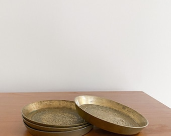 Set of 4 Mini Brass Coasters