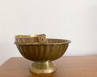 Solid Brass Footes Bowl with Handle