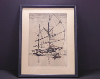 1938 Chinese Junk: Ageless Merchantman of the Far East, etching by Norman Wilkison