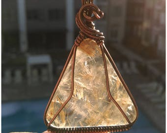 Golden Rutilated Quartz in Antiqued Copper