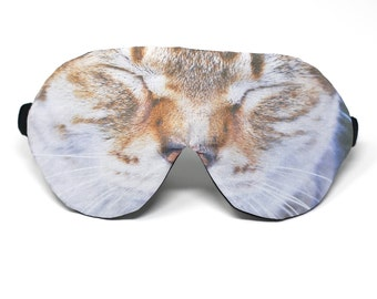 Organic SLEEPY CAT Eye Mask | Sleep Wellbeing | Cotton Bamboo Funny Photoprint | Handmade Relax Plane Travel Spa Luxury Gift Woman Man Vegan