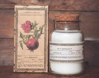 Fig + Pomegranate || Hand Poured || Scented Soy Wax Candle || Apothecary Candle || Farmhouse Candle