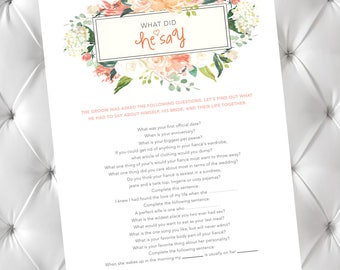what did he say bachelorette game bridal shower game what he said groom answers about his bride groom questions about a bride