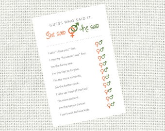 she said he said guess who said guessing game bridal shower game bridal shower fun game printable personalized shower games