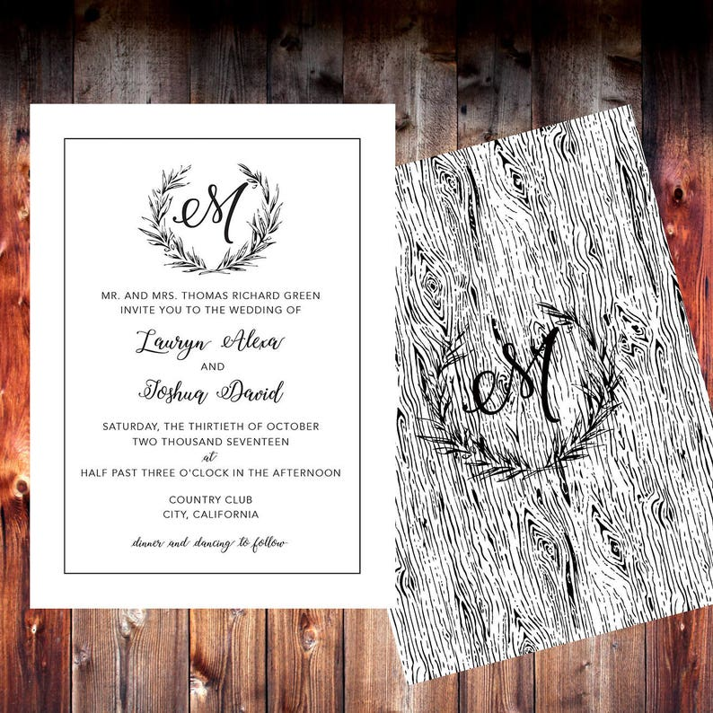 159a7cd678da7 Wedding Invitation / Wedding Invites / Wedding Invitations / Rustic Wedding  / Instant Download / Digital Download / Custom / Personalized