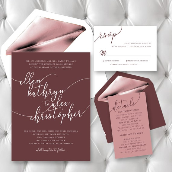 0f97a7dbd3c22 Wedding Invitation / Wedding Invites / Wedding Invitations / Burgundy  Wedding / Instant Download / Digital Download / Custom / Personalized