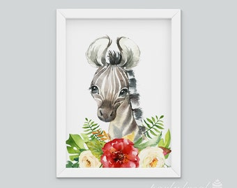 Zebra Wall Art, Watercolour Jungle Print, Safari Animal Wall Print, Nursery Wall Art, Nursery Wall Print, Baby Wall Print, Animal
