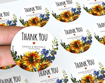 Sunflower Wedding Stickers, Personalised Thank You Stickers, Personalised Sunflower Wedding Favour, Wedding Labels, Candle Favour Stickers