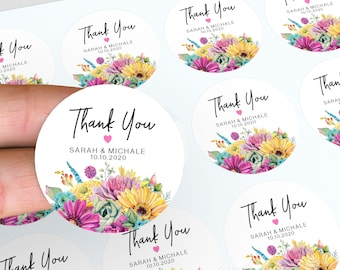 Floral Wedding Stickers, Personalised Thank You Stickers, Floral Wedding Favour, Wedding Labels, Floral Stickers, Candle Favour Stickers