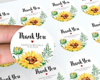 Sunflower Wedding Stickers, Personalised Thank You Stickers, Floral Wedding Favour, Wedding Labels, Floral Stickers, Candle Favour Stickers