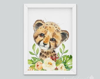 Cheetah Wall Art, Watercolour Jungle Print, Safari Animal Wall Print, Nursery Wall Art, Nursery Wall Print, Baby Wall Print, Animal