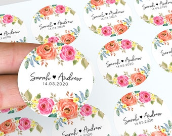 Wedding Stickers, Floral Wedding Stickers, Personalised Thank You Stickers, Floral Wedding Favour, Floral Stickers, Candle Favour Stickers