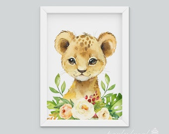 Lion Wall Art, Watercolour Jungle Print, Safari Animal Wall Print, Nursery Wall Art, Nursery Wall Print, Baby Wall Print, Animal