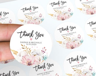 Wedding Stickers, Personalised Thank You Stickers, Wedding Stickers, Floral Wedding Favour, Candle Favour Sticker, Floral Thank You Stickers