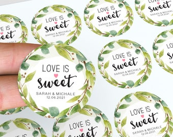 Love Is Sweet Labels, Personalised Stickers, Lolly Jars, Wedding Favour, Floral Wedding Stickers, Party Bag Favour, Candle Favour Stickers