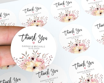 Wedding Stickers, Personalised Thank You Stickers, Wedding Stickers, Floral Wedding Favours, Candle Favour Stickers, Round Stickers