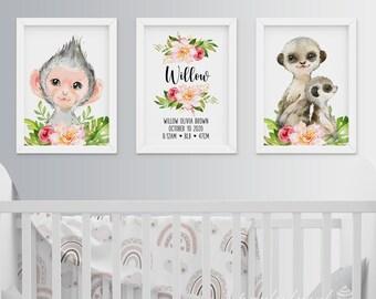 Jungle Wall Art, Set Of 3, Watercolour Safari Print, Personalised Wall Print, Jungle Safari Prints, Nursery Wall Print, Baby Room Wall Print