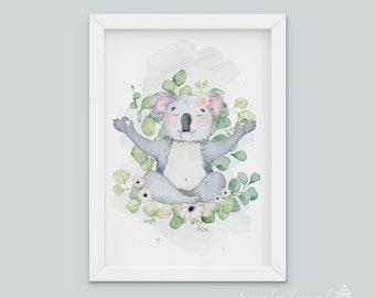 Baby Nursery Wall Print, Koala Print, Australian Animal Wall Print, Koala Wall Art, Nursery Wall Art, Watercolour, Room Wall Print
