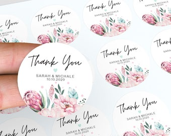 Personalised Thank You Stickers, Wedding Stickers, Wedding Stickers, Floral Wedding Favour, Candle Favour Sticker, Floral Thank You Stickers