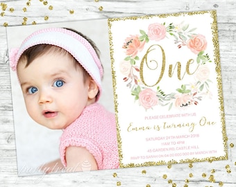 1st Birthday Invitation First Gold Pink Floral Boho Party Invite
