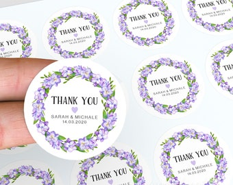 Wedding Stickers, Thank You Stickers, Lolly Jar Stickers, Personalised Labels, Floral Wedding Favour, Floral Stickers, Candle Stickers
