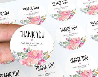 Personalised Wedding Stickers, Thank You Stickers, Watercolour Stickers, Floral Wedding Favours, Floral Stickers, Candle Favour Stickers