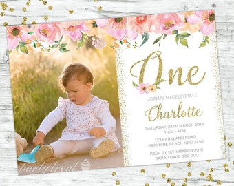 First Birthday Invitation 1st Pink Floral Boho Party Invite Gold