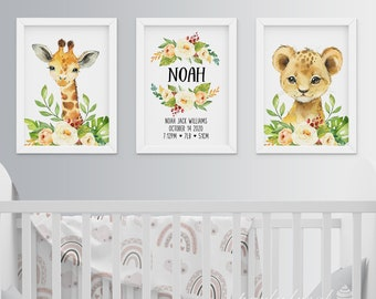 Jungle Wall Art, Set Of 3, Watercolour Safari Print, Personalised Wall Print, Nursery Wall Art, Nursery Wall Print, Baby Room Wall Print