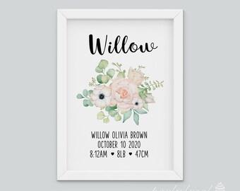 Birth Announcement Wall Art, Floral Birth Print, Personalised Birth Print, Wall Print, Nursery Wall Art, Custom Print, Printable Wall Art