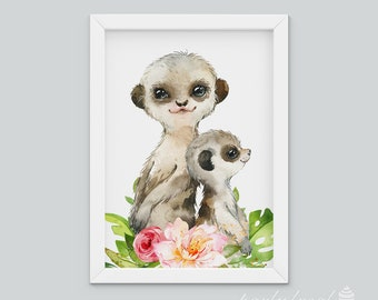 Meerkat Wall Art, Watercolour Jungle Print, Safari Animal Wall Print, Nursery Wall Art, Nursery Wall Print, Baby Wall Print, Animal