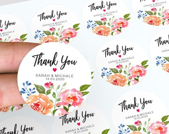 Floral Wedding Stickers, Personalised Stickers, Watercolour Wedding Favour, Thank You Wedding Stickers, Candle Favour Stickers, Custom Label
