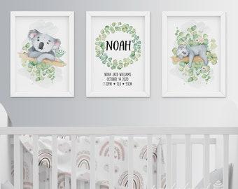 Koala Wall Art, Set Of 3, Watercolour Koala Print, Personalised Wall Print, Boys Nursery Wall Art, Nursery Wall Print, Baby Room Wall Print
