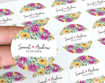Personalised Wedding Stickers, Thank You Stickers, Floral Wedding Favour, Wedding Labels, Floral Stickers, Candle Favour Stickers, Labels