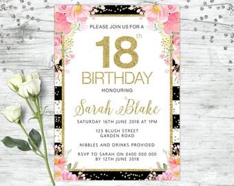 18th Birthday Invitations Gold Party Invites Personalised Invitation Invite Floral
